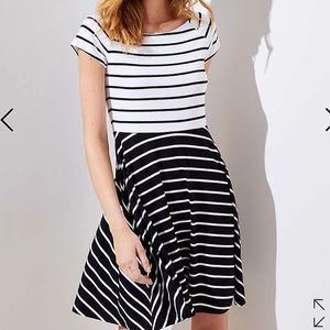 LOFT mixed stripe flare dress-petite